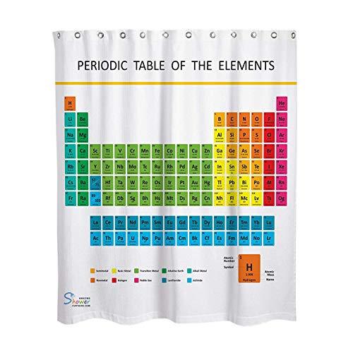 Enzege Wasserdicht Periodensystem Badewannen Vorhang Anti Schimmel Badezimmer Duschvorhang (180x180cm)