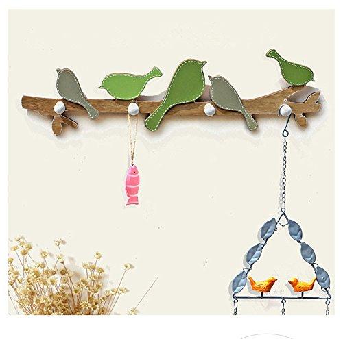 Santwo Parete ganci multiuso legno cute Birds Decor cappello cappotto tasti borse ganci rack Green