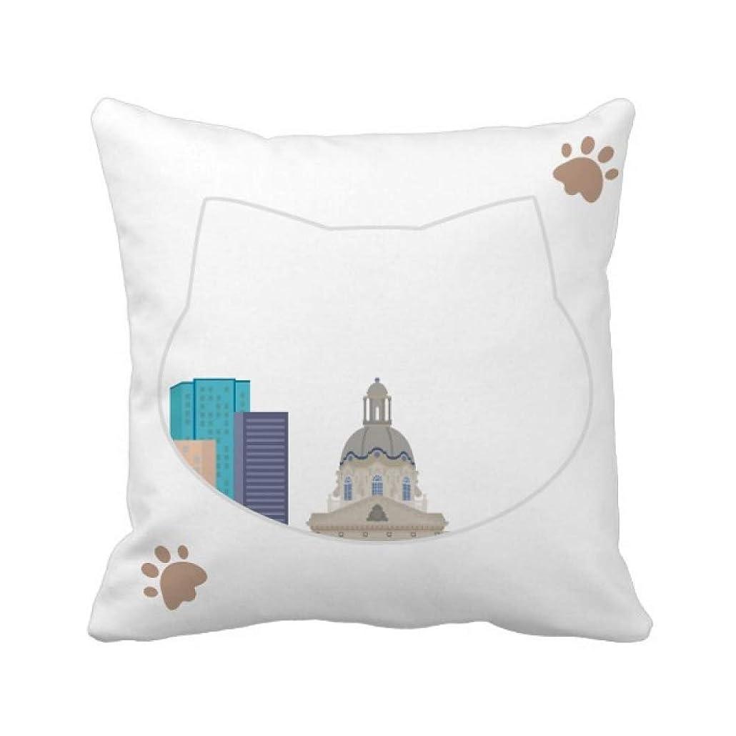 明快丈夫吸収カナダランドマークと都市建築物の漫画 枕カバーを放り投げる猫広場 50cm x 50cm