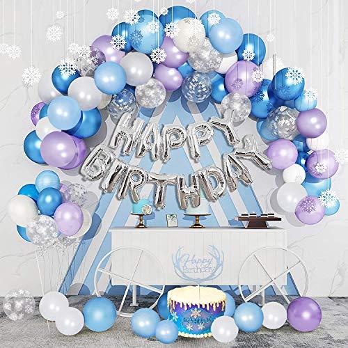 SPECOOL Decoraciones Fiesta Cumpleaños Niña, Copo Nieve Decoración de Cumpleaños Globos Blanco y Azul y Púrpura Copos de Nieve Decoracion Cumpleaños Globos para Cumpleaños Aniversario Decoración