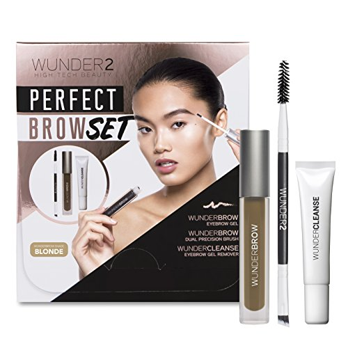 Wunder2 Perfect Brow Set - Gel per sopracciglia, Struccante & Dual Precision Brow Brush (Tono Biondo)