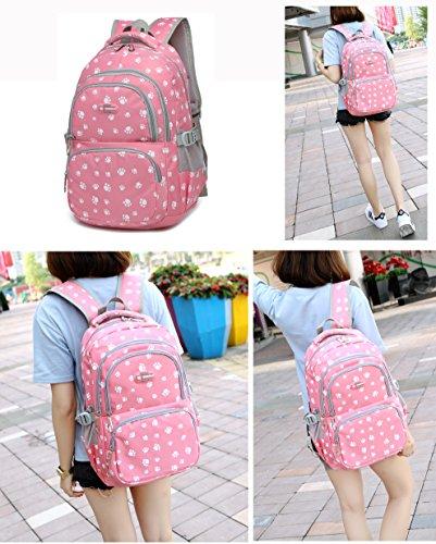 Pawprint Girls School Backpacks for Kids Children Elementary School Bags Bookbags (Rose Red 2)