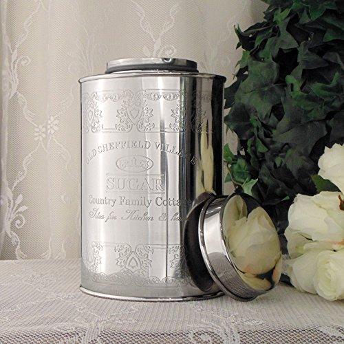 Angelica Home & Country Contenitore con Coperchio Metallo Vintage Shabby Chic Sugar