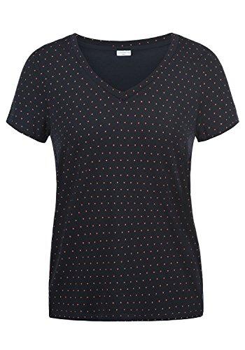 ONLY Leonie Damen T-Shirt Kurzarm Shirt Mit V-Ausschnitt, Größe:S, Farbe:Sky Captain/Dots High Risk Red