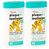 Petkin Plaque Toothwipes Fresh Mint 2 Packs of 40 wipes - Cleans teeth, gums, plaque & tartar, freshens breath. Tooth wipe for cat or dog. (2-Pack)