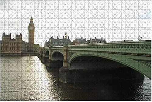 1000 piezas-Parlamento del Reino Unido y Big Ben en Londres Puente de Westminster sobre el río Rompecabezas de madera DIY Niños Rompecabezas educativos Regalo de descompresión para adultos Juegos cre