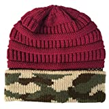 BUKEZH Men and Women Winter Warm Knitted Casual Cap Outdoor Fashion Hat Practice Solid Printing Hat (Red A)