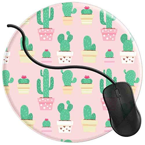 QCFW Tappetino Mouse Cactus Rosa in vasi Tappetino per Mouse da Gioco per Giochi Ufficio Base in Gomma Antiscivolo 2T3926