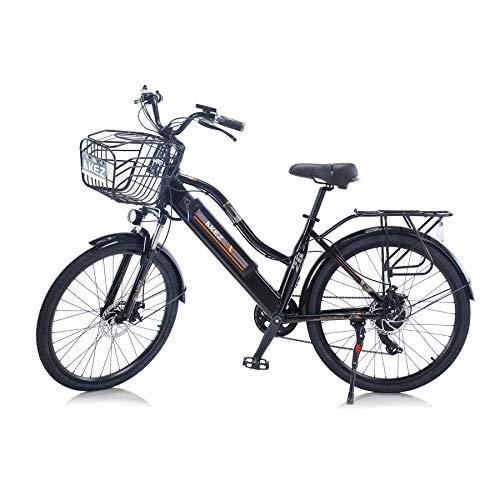 Hyuhome 2021 Upgrade Bicicletas eléctricas para Mujeres Adultas, Todo Terreno 26' 36V 250/350W 10A Bicicleta eléctrica montaña para Ciclismo al Aire Libre Viajes Ejercicio (Black, 250W)