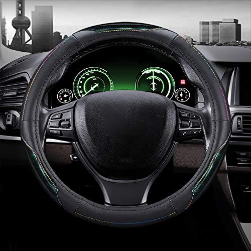 WY-CAR Cubierta del Volante del Coche, Protector del Volante de Piel Genuina, Antideslizante Transpirable Durable Cubierta del Volante, Universal Diámetro 38cm (15'),Verde