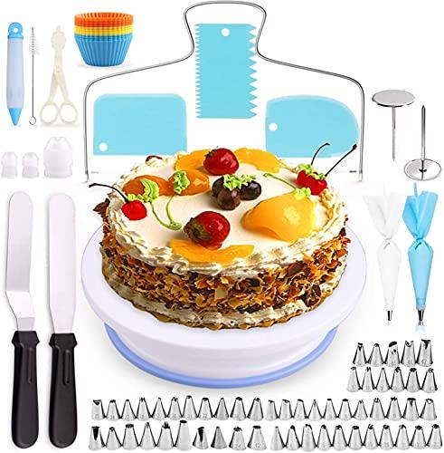 SPLAKS Set Pasticceria, Kit Pasticceria Professionale con 106 Pezzi di Utensili da Decorazione per Torte, Supporto per Piatto Girevole per Torte, spatola per Dolci, Adatta per Cupcake Dolci Torta