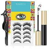 Magnetic Eyelashes with Eyeliner, Magnetic Lashes and Magnetic Eyeliner Kit, Magnetic Eyelashes with Applicator, Natural Looking Magnetic Eyelashes 5 Pairs , No Glue Needed