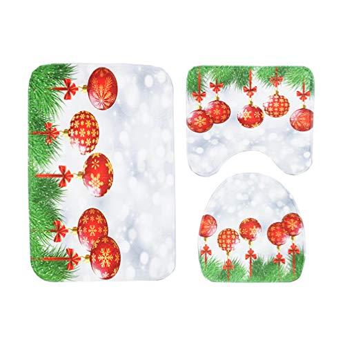 Angoily Juego de Alfombrillas de Baño de Navidad de 3 Piezas Funda de Asiento de Inodoro de Navidad Alfombras de Baño Antideslizantes para Decoración de Baño de Navidad (Bola Roja de