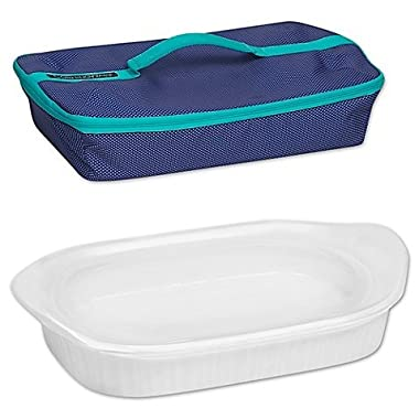 French White 3 qt. Baking Dish with Lid and Portable Case by CorningWare by CorningWare