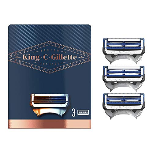 Gillette King C. Rasierklingen für Nacken, entworfen zum Rasieren von empfindlichen Stellen des Halses und der Wangen, Packung mit 3 Ersatzklingen