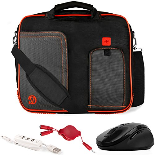VanGoddy Pindar Red Trim Laptop Bag w/Accessories for Acer Aspire Series/One 10 / CloudBook/ChromeBook/Iconia 10'-11.6inch
