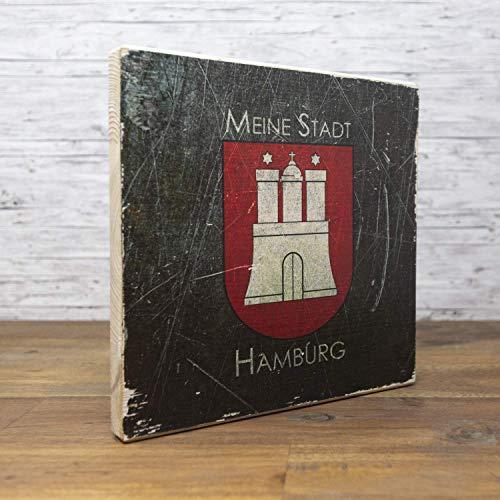 elbPLANKE - Meine Stadt Hamburg - STEEL | 20x20 cm | Holzbild von Fotoart-Hamburg | 100% Handmade aus Holz (Kiefer/Fichte)