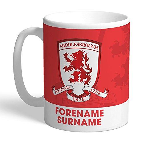 Official PERSONALISED Middlesbrough Bold Crest Mug