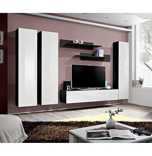 Banc TV - 6 éléments - Blanc et noir