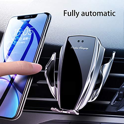 YJCol Soporte para teléfono Celular para Cargador inalámbrico para automóvil Sensor infrarrojo de Carga rápida 10w Qi Fast Charge Compatible con Samsung Galaxy Note 10 + S10 S9 S8 Plus S7 Edge,Plata