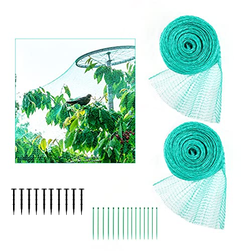 Xiangmall 2 Stücke 2x10M Grünes Vogelnetz Vogelschutznetz Engmaschig Laubschutznetz Teichnetz mit Kabel Bindern Gartensicherungsnägeln für Obst Gemüse Pflanze Blumen (Grün)