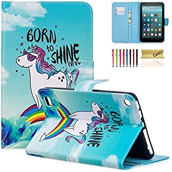 Kindle Fire 7 2017 / 2015 Case Casii Lightweight Protective PU Leather Slim Stand Cover with Card Holders for All-New Amazon Fire 7  7th Generation - 2017 & 5th Generation - 2015  Rainbow Unicorn