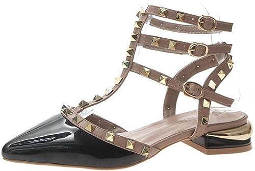WUWUKAI Nouvel été Sandals Femme Pointé Rivet Boucle Boucle Mot épaisse avec La Bouche Peu Profonde Chaussures Simples Marée, 35_Noir  100% garantie d'ajustement
