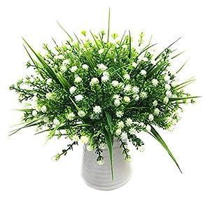 Silk Flower Arrangements Cusmyre 4Pcs Artificial Gypsophila Flowers Bouquet Simulation Baby Breath Silk Flower Fake Plants Flower (White)