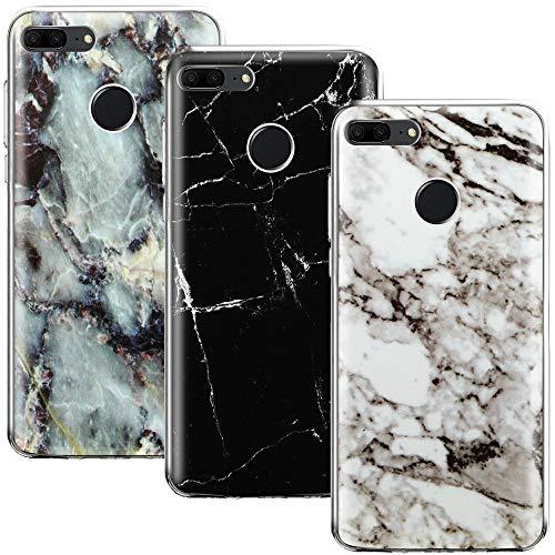 CLM-Tech kompatibel mit Huawei Honor 9 Lite Hülle 3X, TPU Silikon-Hülle Hülle 3er Set Schutzhülle Handyhülle, Marmor schwarz weiß