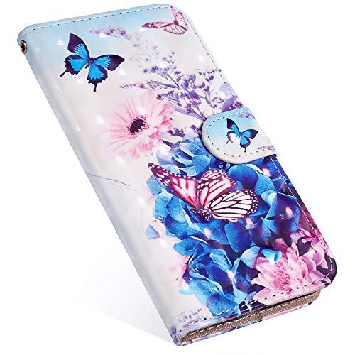 MoreChioce kompatibel mit iphone 11 Pro Hülle,iphone 11 Pro Klapphülle,3D Glitzer Ledertasche Schmetterling Blume Bling Glanz Funkeln Flip Schutzhülle Handytasche Brieftasche Magnetverschluß