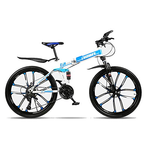 TopJiä Unisex Folding Mountain Bike,30-Speed,Men MTB Bikes 26 Inch Wheel,Double Disc Brake,High Carbon Steel Frame,Before and After The Band Fenders,Teens Road Bike W 30-Speed