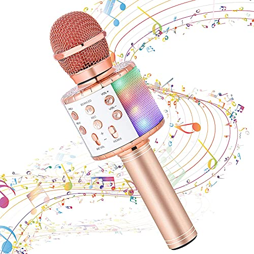 Karaoke Microphone for Kids Singing,Milerong 5 in 1 Wireless Microphones Karaoke Machine,Bluetooth Microphone for Kids,Portable Mic Speaker Player Recorder for Home Party Birthday(Pink)