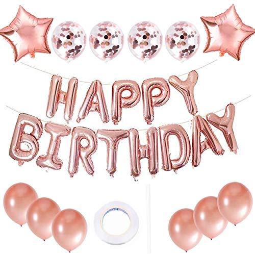 QIMMU Happy Birthday Luftballons Set,Happy Birthday Banner,Happy Birthday Girlande Luftballons,Konfetti Luftballons für Geburtstag Partydeko (Roségold)