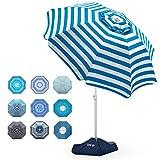 Beach Umbrella - 6.5ft Heavy Duty Windproof Tilt Portable...