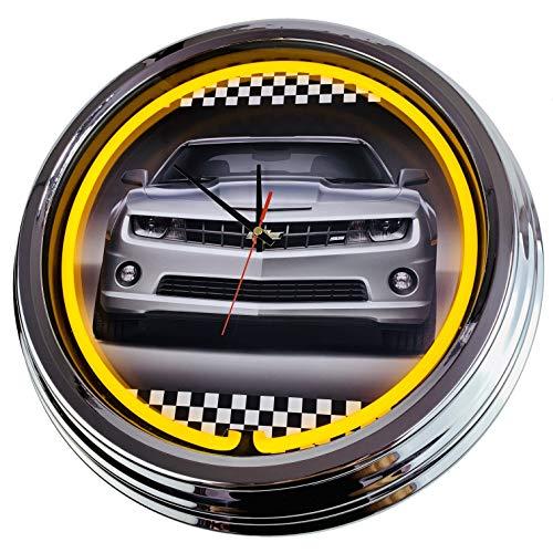 Neon Uhr Camaro Chevrolett Wanduhr Deko-Uhr Leuchtuhr USA 50's Style Retro Neonuhr Esszimmer Küche Wohnzimmer Büro (Gelb)