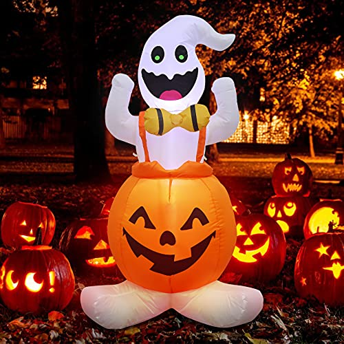 Halloween Inflatable Pumpkin Ghost Decorations Clearance, 4FT Blow Up Pumpkin Ghosts with LED Lights, Halloween Lighted Pumpkin Ghost Inflatable Decorations Outdoor/Outside Yard for Party Holiday