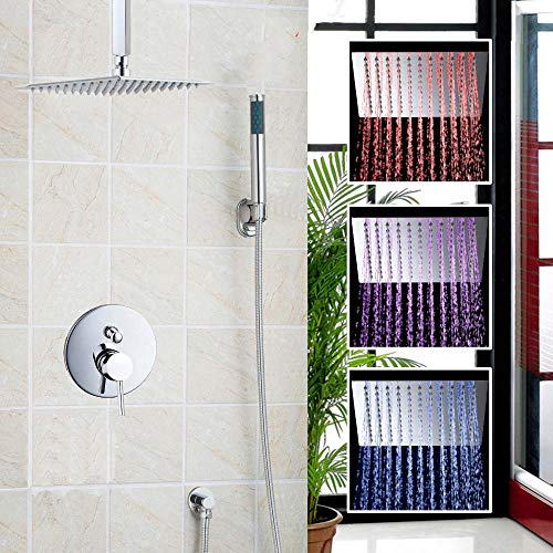 Gnailur Conjunto de ducha de lluvia montada en la pared de 12 pulgadas Juego de ducha de ducha cuadrada de lujo con ducha con ducha de mano cromo