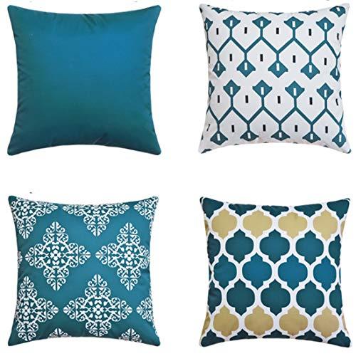 LIANNAO 4 Pack Funda de Cojines Cuadrado Funda de Sintética Almohada del SofasThrow Cojines Decoración Almohada Caso de la Cubierta Geométrico Decorativas 40X40cm Azul