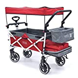 Creative Outdoor Push Pull Collapsible Folding Wagon Stroller Cart for Kids   Titanium Series   Beach Park Garden & Tailgate (Red)