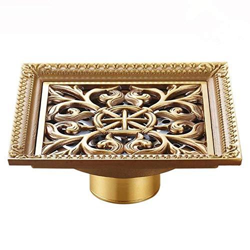 HXCD Bodenablauf Grün Bronze Antiker Bodenablauf Großer Durchfluss Insektenbekämpfung Anti-Wasser-Deodorant Bodenablauf Für Küchenwaschraum Feste Duschköpfe (Farbe: Gold 2, Größe: 12 x 12 x 5 cm)