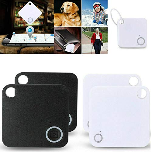 4 Pieces of GPS Locator Mobile Phone Bluetooth Anti-Lost, Bluetooth Tracker Companion GPS Key Wallet pet Finder, Replaceable Battery Tracker, Support iOS, Android Dual System