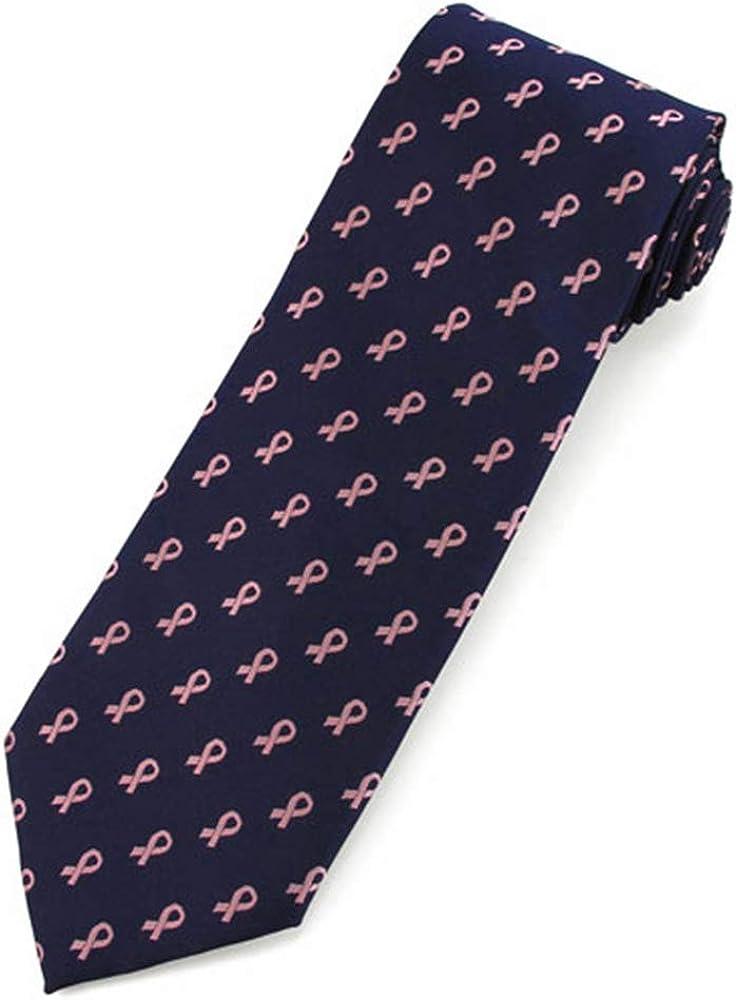 Jacob Alexander Boys' Prep Pink Ribbon Breast Cancer Awareness Pattern Neck Tie