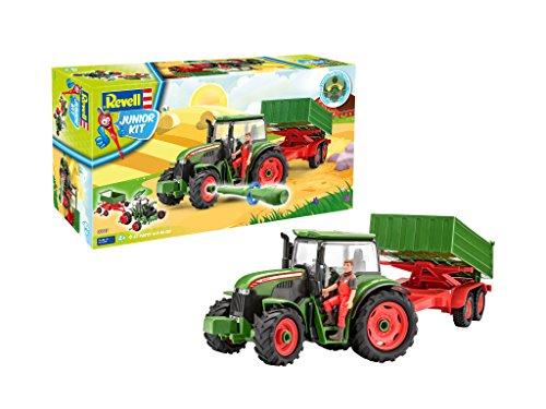 Revell 00817 Junior Kit-Traktor mit Anhänger und Spielfigur 4 der Bausatz mit dem Schraubsystem für Kinder ab 4 Jahre, Bauen-Schrauben-Spielen, mit tollen Funktionen, grün, Länge ca. 46 cm