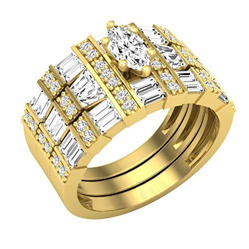 Dazzlingrock Collection Juego de anillos de compromiso de tres piezas con diamantes blancos cónicos y redondos de 1,70 quilates, disponible en metal de oro de 10 K, 14 K, 18 K y plata de ley 925.