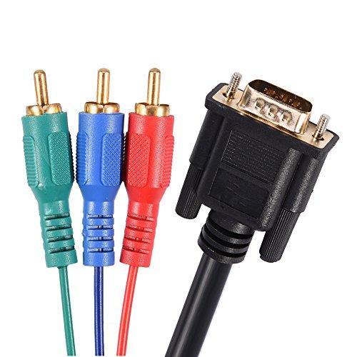 Tihebeyan Adaptador de Cable VGA a RCA, Cable Adaptador VGA a TV 3 RCA S-Video para computadora portátil Salida de Video Monitor de TV HDTV Monitor LCD