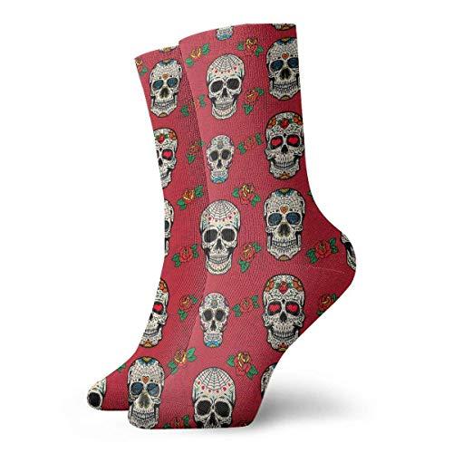 QUEMIN Calcetines Patrn transpirable con calaveras de azcar Calcetines deportivos exticos modernos para mujeres y hombres Calcetines deportivos estampados 30 cm (11,8 pulgadas)
