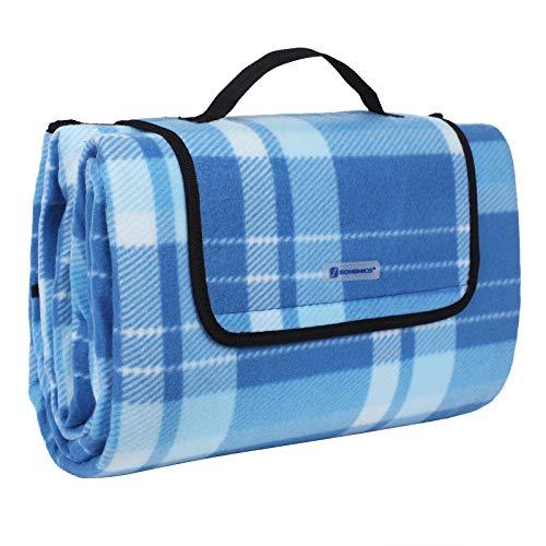 SONGMICS 200 x 200 cm XXL Picknickdecke Fleece wÄrmeisoliert wasserdicht mit Tragegriff (Quadrate blau gestreift)