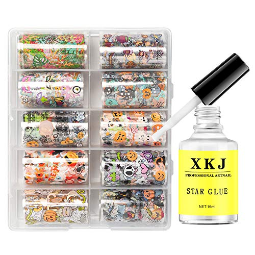 Nail Art Foil Glue Gel with Foil Stickers Set 10 Rolls Halloween Starry Sky Nail Transfer Tips for...
