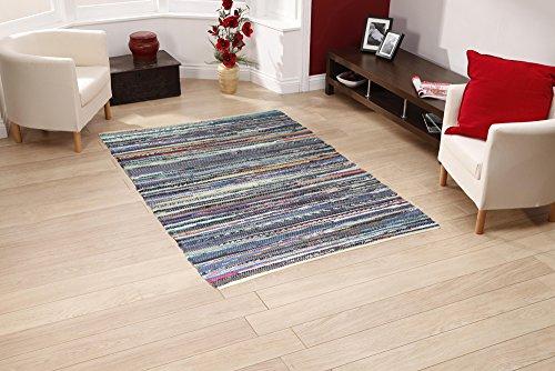 100% recycelter handgefertigter mehrfarbiger Chindi-Bodenteppich 120 x 170 cm (hergestellt aus recycelter Baumwolle)