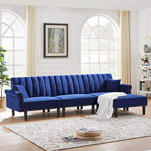 DKLGG Futon Sofa Bed Sectional Couch 4-Seater Modern Velvet Fabric Classic Upholstered Couches with Super Soft Cushion for Living Room (Navy Blue)